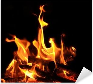 Sticker Pixerstick Feu de camp, feu de cheminée, les flammes, les braises