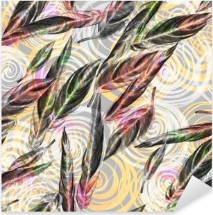 Sticker Pixerstick Feuillage tropical seamless. Feuilles colorées à l'aquarelle de exotique plante Calathea Whitestar sur motif géométrique spirale, mélangés effet. print textile.