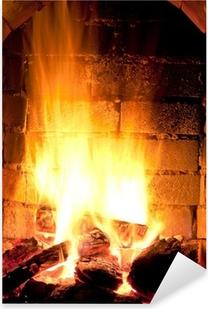 fire in fireplace Pixerstick Sticker