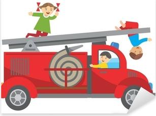 Fire truck and children Pixerstick Sticker