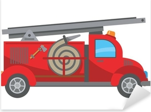 Fire truck cartoon Pixerstick Sticker