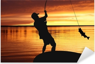 fisherman with a catching fish on sunrise background Pixerstick Sticker