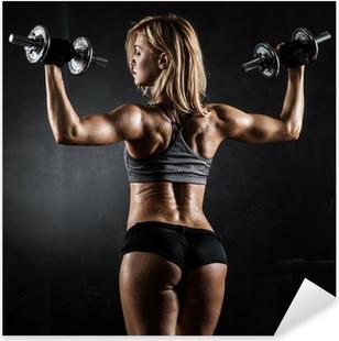 Pixerstick Sticker Fitness met halters
