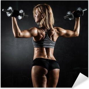 Fitness with dumbbells Pixerstick Sticker