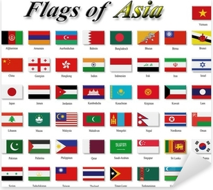 Flags of Asia Pixerstick Sticker
