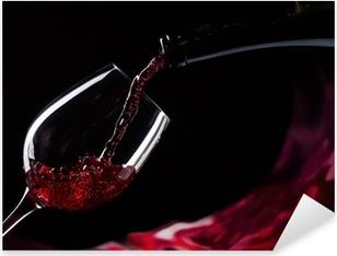 Pixerstick Sticker Fles en glas met rode wijn