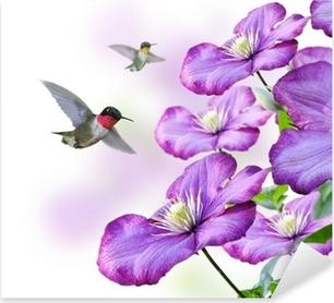 Sticker Pixerstick Fleurs et colibris