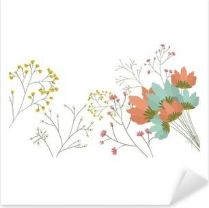 Sticker Pixerstick Fleurs icône. Décoration jardin rustique nature plante floral et le thème du printemps. conception isolée. Vector illustration