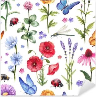 Sticker Pixerstick Fleurs sauvages et illustrations d'insectes. modèle d'été aquarelle