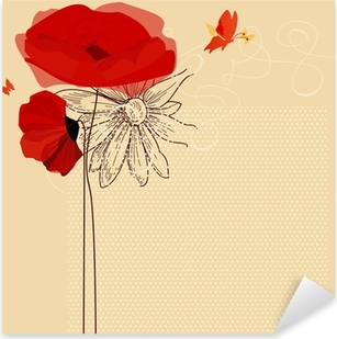Floral invitation, poppies and butterfly vector Pixerstick Sticker