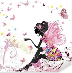 Pixerstick Sticker Flower Fairy in het milieu van de vlinders