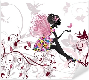 Flower Fairy with butterflies Pixerstick Sticker