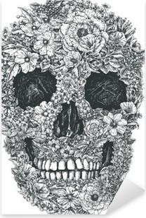 Flower Skull Vector Pixerstick Sticker