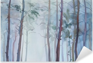Foggy forest watercolor background Pixerstick Sticker