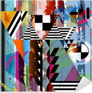 Sticker Pixerstick Fond abstrait, avec des traits, des taches, des rayures et triangl