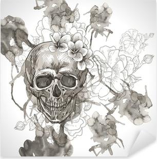 Sticker Pixerstick Fond abstrait avec le crâne, Ailes et fleurs
