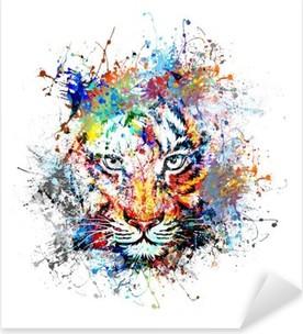 Sticker Pixerstick Fond clair avec le tigre