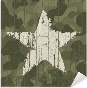 Sticker Pixerstick Fond de camouflage militaire avec étoile. Vector, EPS10.
