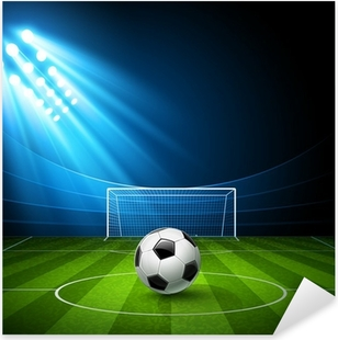 Football arena with a soccer ball. Vector Pixerstick Sticker