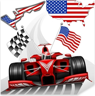 Formula 1 Race Car GP Austin USA Pixerstick Sticker