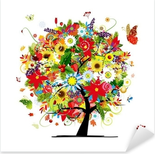 Four seasons concept. Art tree for your design Pixerstick Sticker