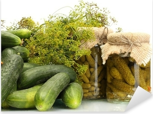 fresh cucumbers, pickles and dill isolated on white Pixerstick Sticker
