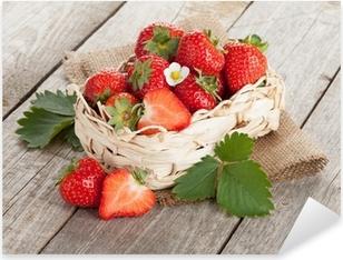 Fresh strawberry in basket Pixerstick Sticker