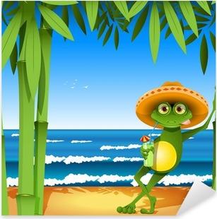 frog on the beach Pixerstick Sticker