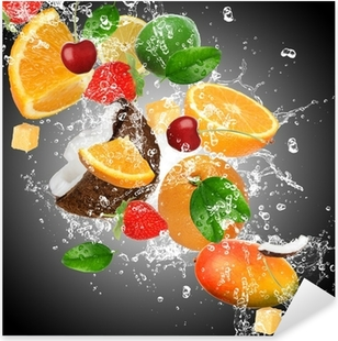 Fruit with splashing water Pixerstick Sticker