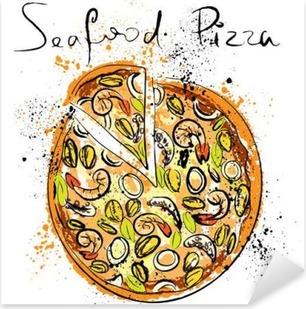 Sticker Pixerstick Fruits de mer à pizza, dessiné à la craie sur un tableau noir,