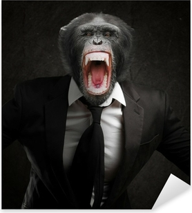 Frustrated Monkey In Business Suit Pixerstick Sticker