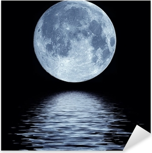 Full moon over water Pixerstick Sticker