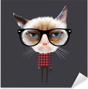 Funny cartoon cat, vector Eps10 illustration. Pixerstick Sticker