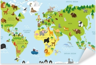 Funny cartoon world map with traditional animals of all the continents and oceans. Vector illustration for preschool education and kids design Pixerstick Sticker