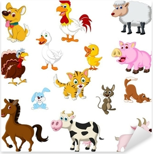 funny Farm animals set Pixerstick Sticker
