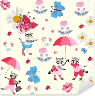 Funny little raccoons and kitty with pink umbrellas, butterflies, flowers and hearts isolated on light yellow background. Endless pattern for children. Vector spring or summer design. Pixerstick Sticker
