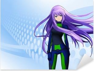 Futuristic anime girl Pixerstick Sticker