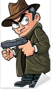 Pixerstick Sticker Gangster cartoon met een pistool en hoed