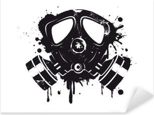 Gasmaske Graffiti Pixerstick Sticker