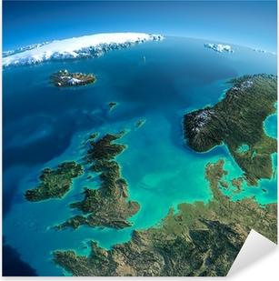 Pixerstick Sticker Gedetailleerde Aarde. Verenigd Koninkrijk en de Noordzee