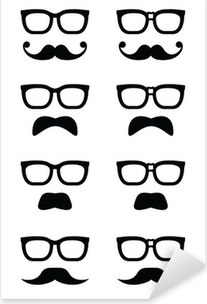 Geek glasses and moustache or mustache vector icons Pixerstick Sticker