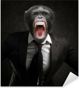 Pixerstick Sticker Gefrustreerde aap In Pak