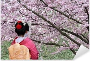 Sticker Pixerstick Geisha et la floraison de Sakura arbre