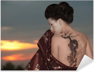 Pixerstick Sticker Geisha met dragon tattoo