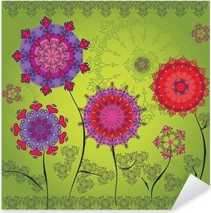 Pixerstick Sticker Gekleurde mandala bloemen op een groene achtergrond