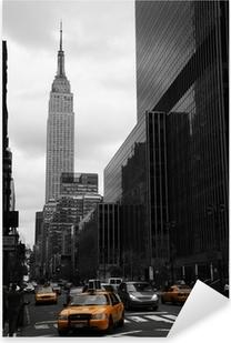 Pixerstick Sticker Gele taxi's op 35th Street, Manhattan, New York