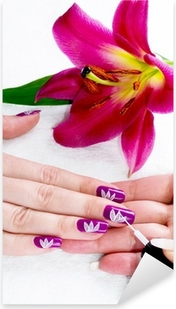 Gentle care of nails in a beauty salon Pixerstick Sticker