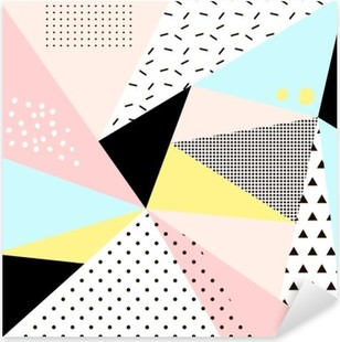 Geometric memphis background.Retro design for invitation, business card, poster or banner. Pixerstick Sticker