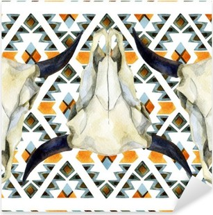 Geometrical ethnic seamless pattern with cow skull Pixerstick Sticker