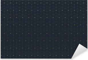 Pixerstick Sticker Geometrische naadloze patroon met de aangesloten lijn en stippen. Grafische achtergrond connectiviteit. Moderne stijlvolle veelhoekige achtergrond voor uw ontwerp. Vector illustratie.
